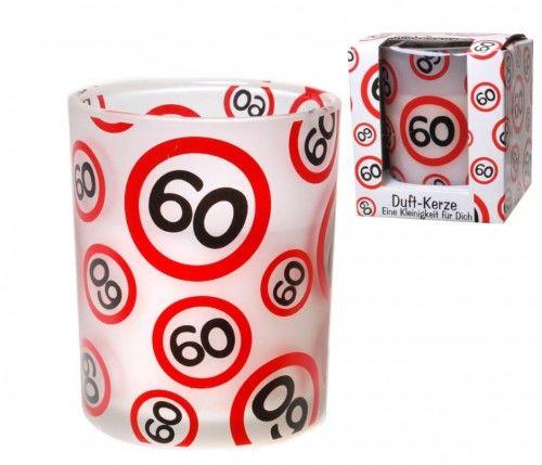 Świeca zapachowa, prezent na 60 urodziny Znak
