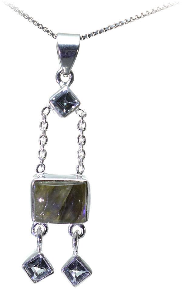 Kuźnia Srebra - Zawieszka srebrna, 47mm, Labradoryt, Niebieski Topaz, 5g, model