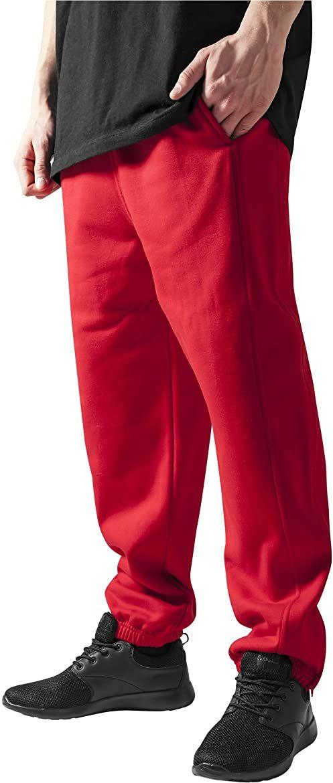 Urban Classics Męskie spodnie dresowe ze sznurkiem, spodnie sportowe z elastycznym zamkiem błyskawicznym, luźne dopasowanie, czerwone XXL