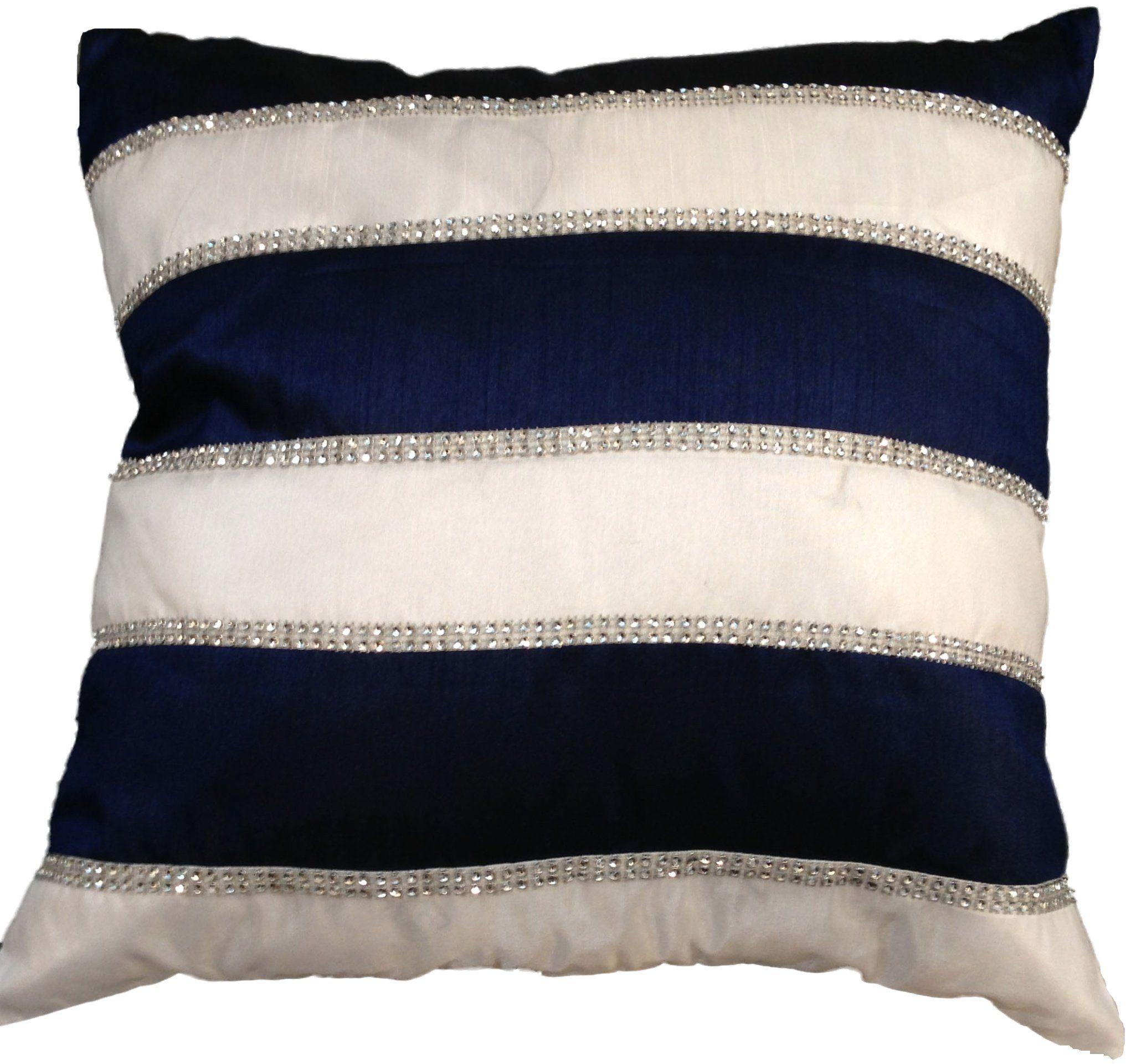 My Flair Poduszka w ponadczasowym stylu, 45 x 45 x 8 cm z wypełnieniem, poliester, pranie ręczne, fioletowa/biała z kamieniami dekoracyjnymi