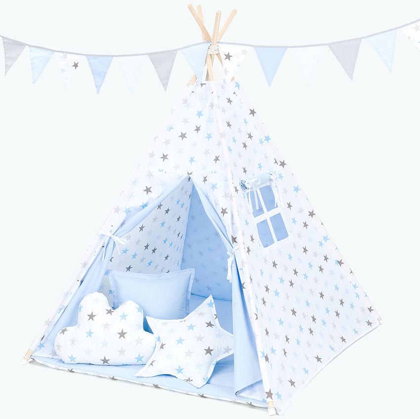MAMO-TATO Namiot TIPI DUŻY Gwiazdki szare i niebieskie duże / jasny błękit