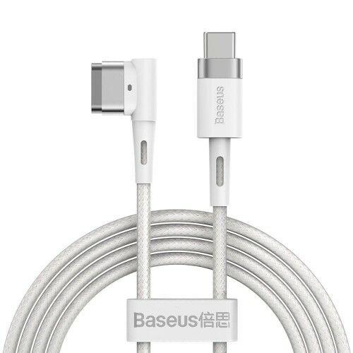 Kabel zasilający kątowy magnetyczny Baseus Zinc USB-C do MacBook MagSafe typu L, 60W 2m, biały