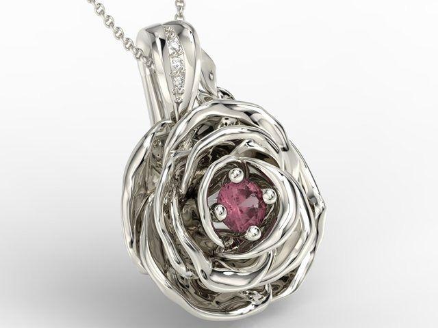 Wisiorek z białego złota w kształcie róży z rubinem i diamentami apw-95b