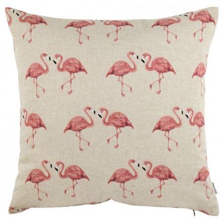 Poduszka Ozdobna z Flamingami Beżowa