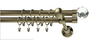 Karnisz BELUNA CRYSTAL RYFEL 19/19mm antyk mosiądz