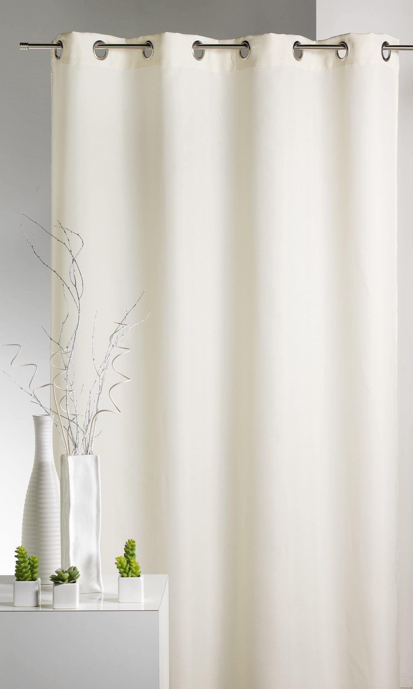 HomeMaison hm6920117 zasłona do wyposażenia wnętrz Uni mikrofibra kolor kości słoniowej 250 x 135 cm