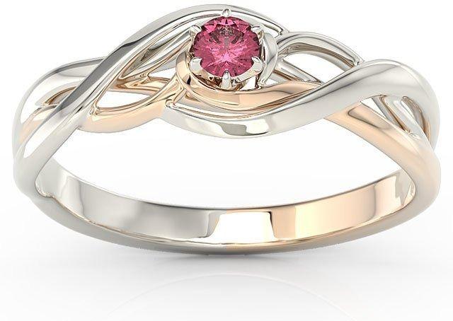 Pierścionek z białego i różowego złota z rubinem bp-72bp-rub