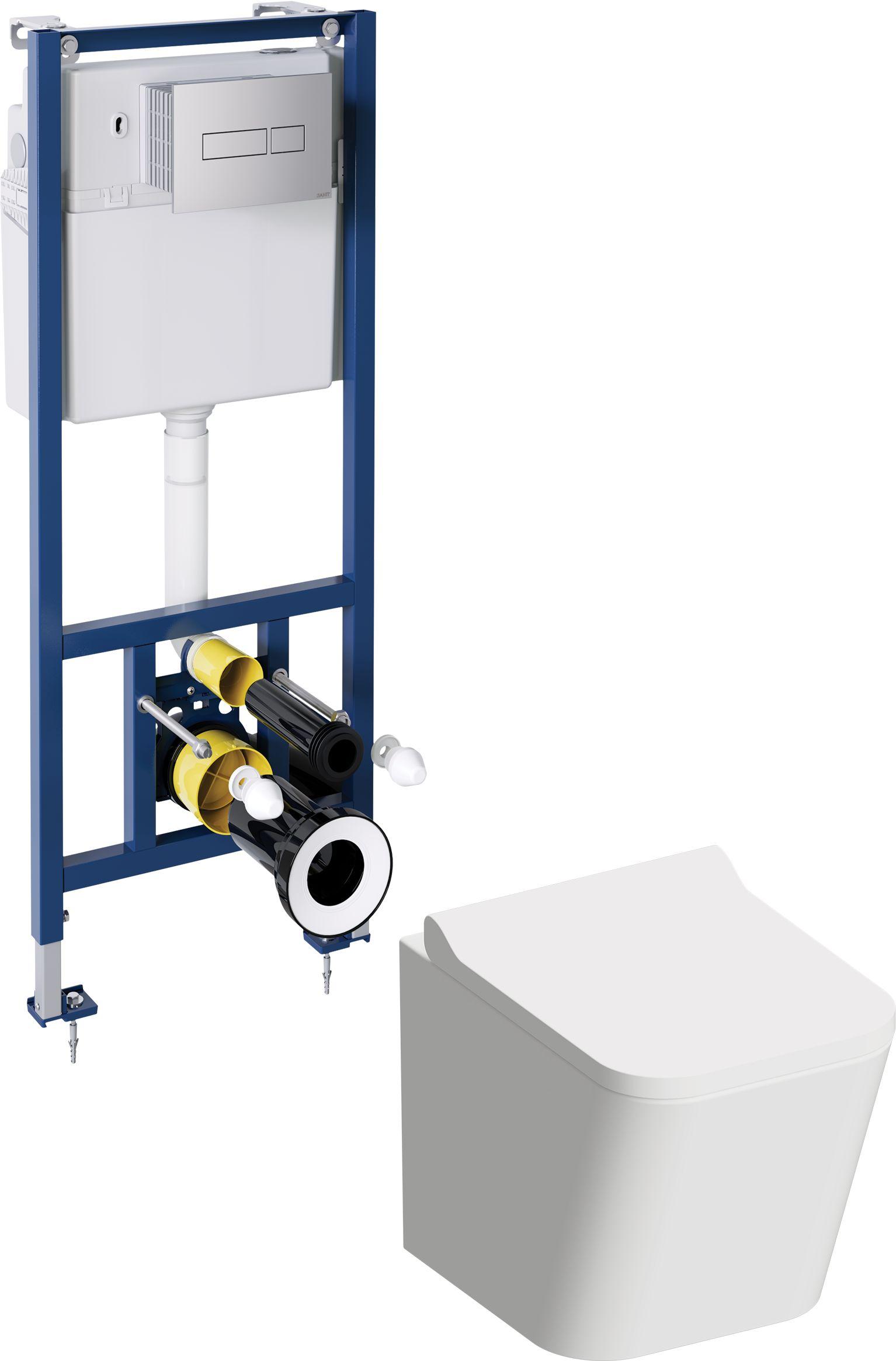 OMNIRES Podtynkowy zestaw WC z miską FONTANA przycisk chrom FONTANASETBPCR