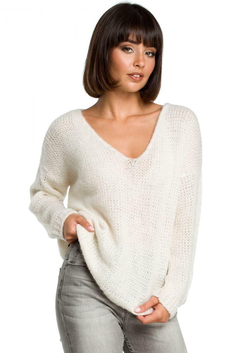BK004 Sweter ze złotą nitką - ecru