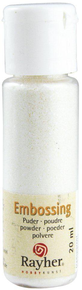 RAYHER 28000690, puder do embossingu, butelka 20 ml, iryzujący, przezroczysty