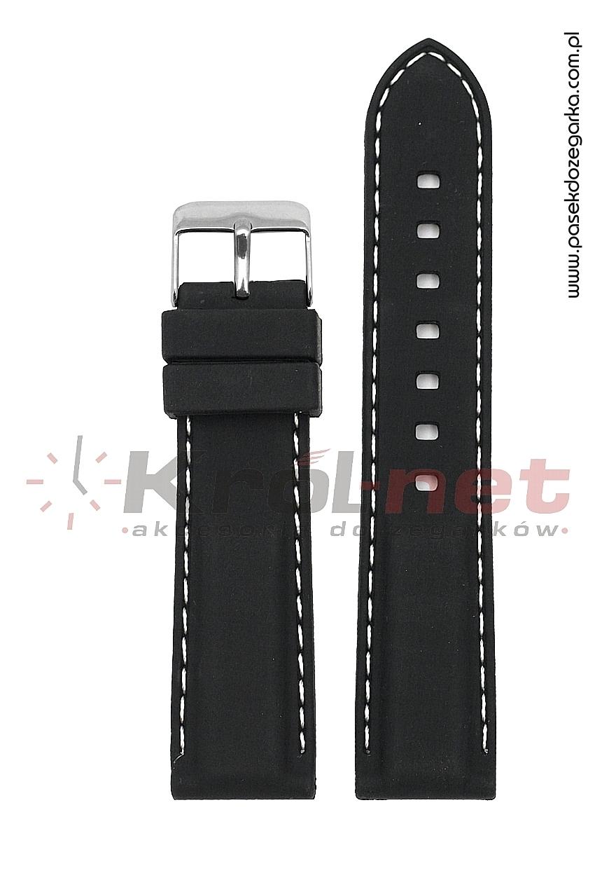 Pasek RP051/B/24 - czarny, białe przeszycia