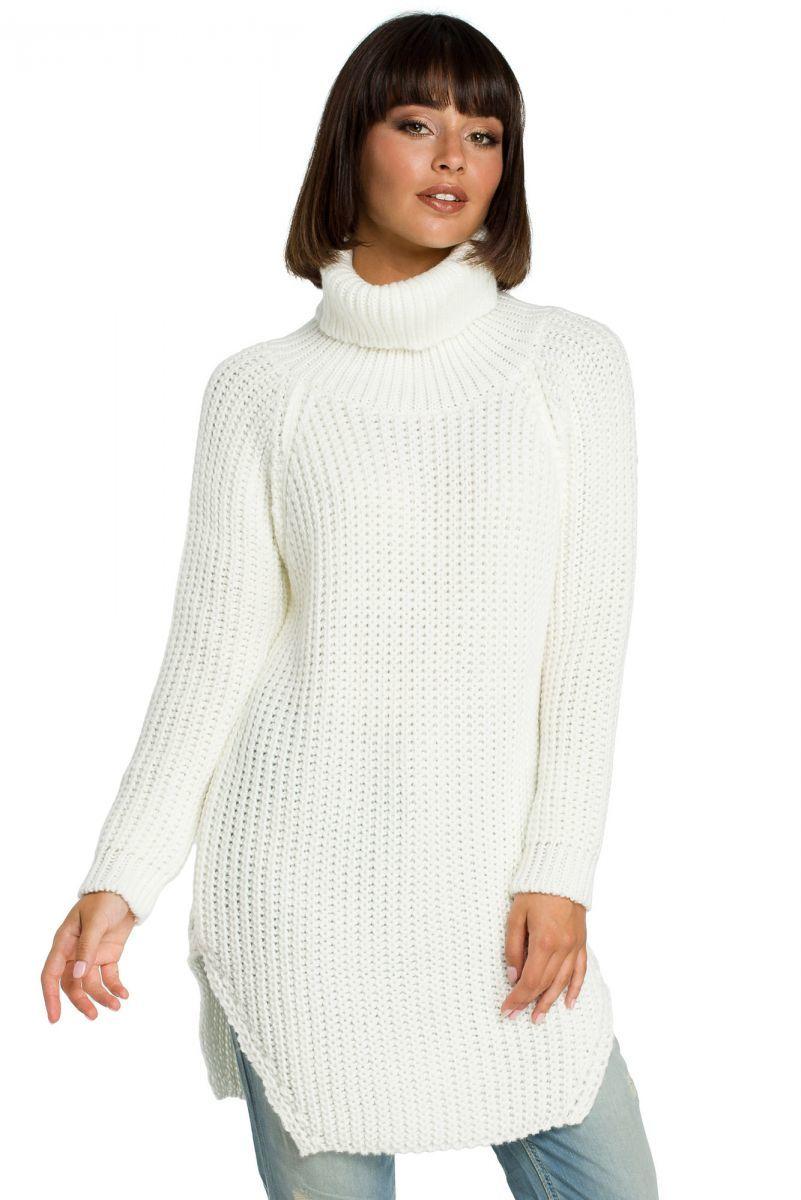BK005 Długi sweter z golfem - ecru