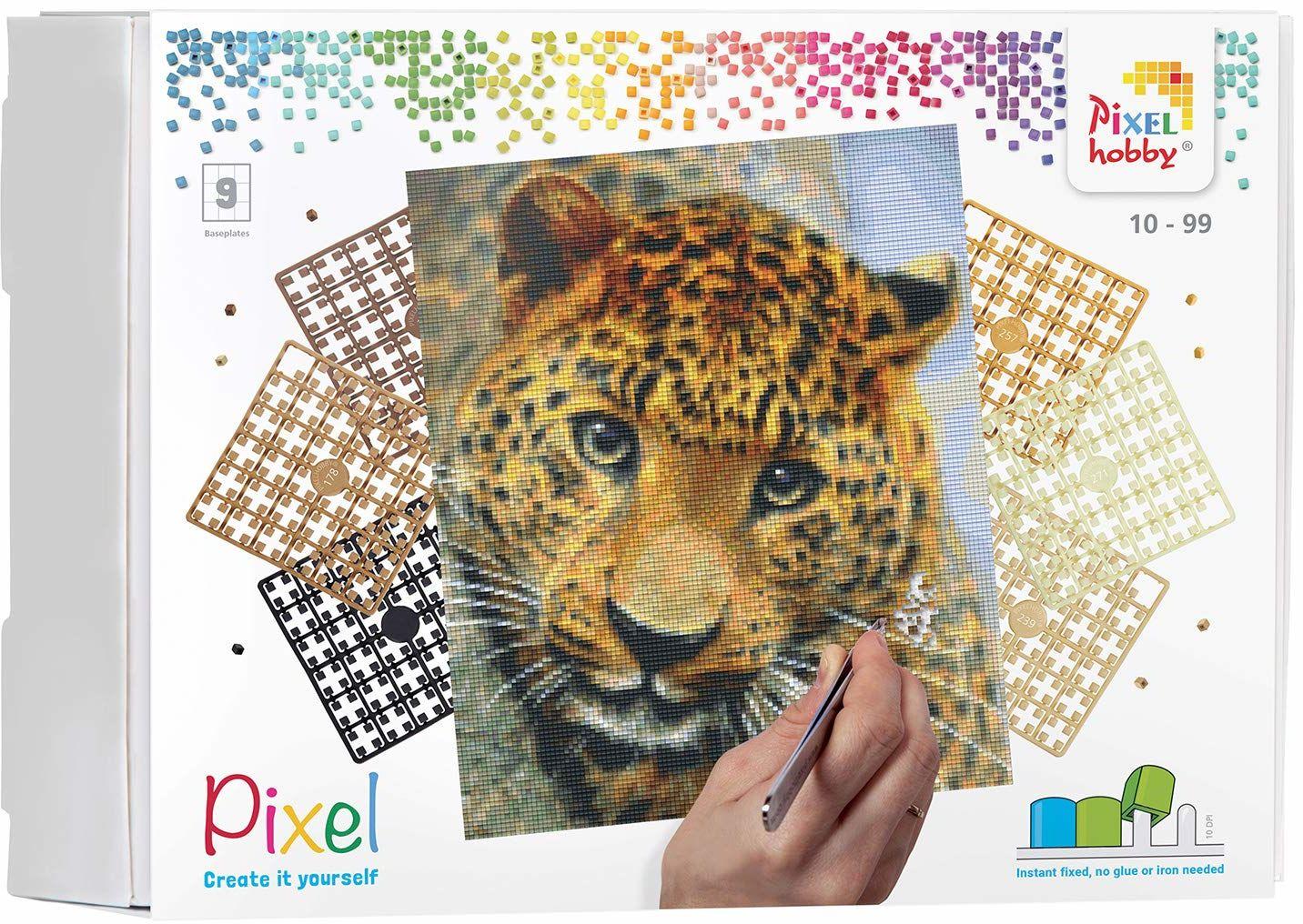 Pixel P090050 Mozaika opakowanie na prezent leopard. Obraz pikseli około 30,5 x 38,1 cm rozmiar do tworzenia dla dzieci i dorosłych, kolorowy
