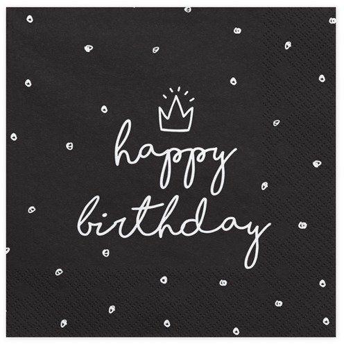 Serwetki Happy Birthday czarne 33cm 20 szt. SP33-15-010