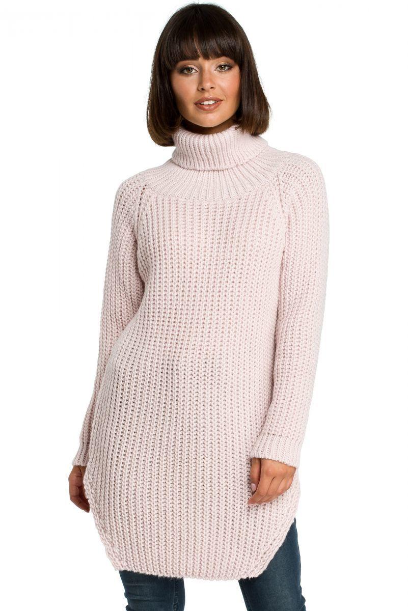 BK005 Długi sweter z golfem - różowy
