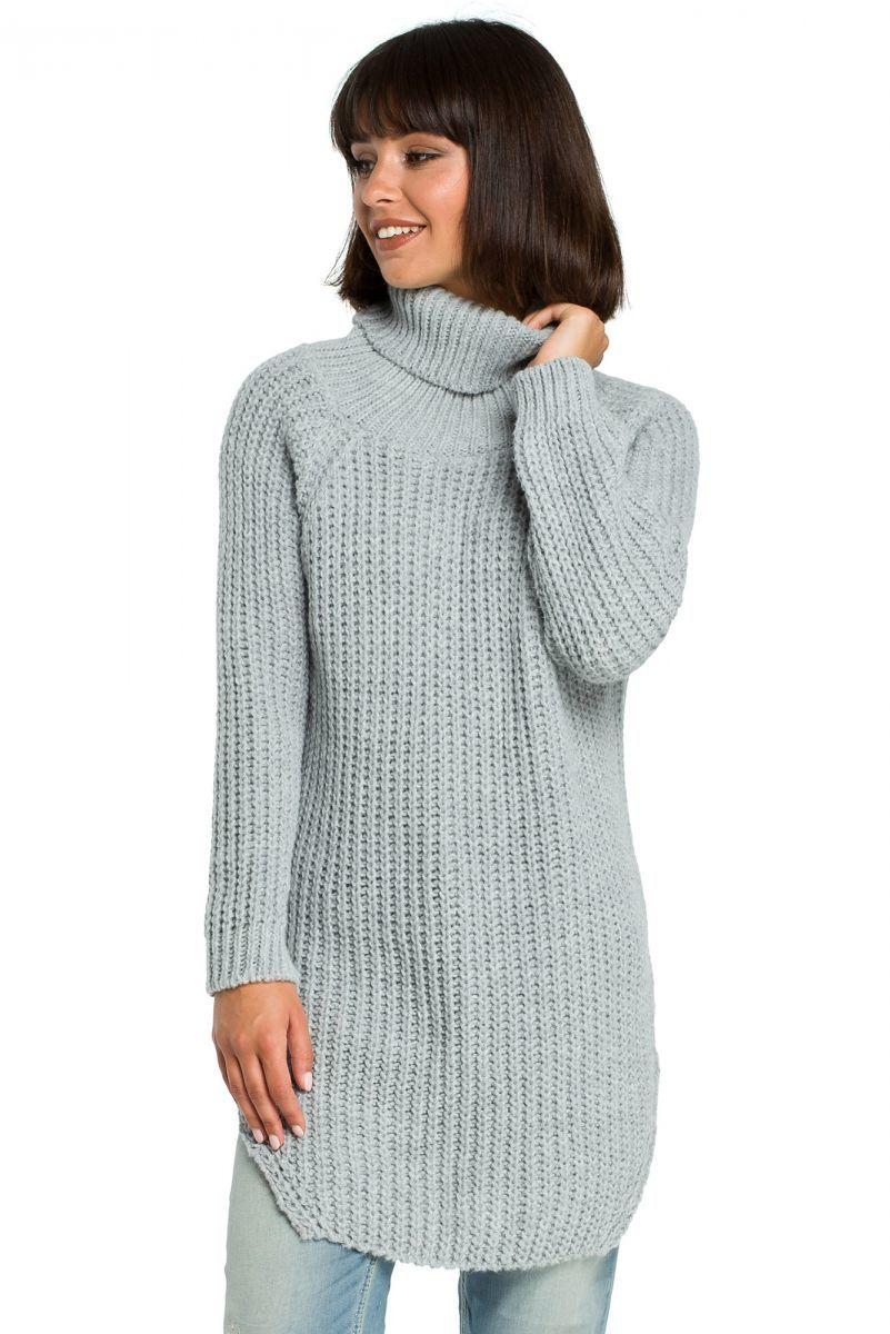 BK005 Długi sweter z golfem - szary