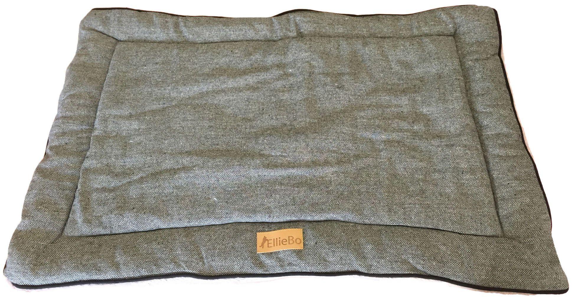 Ellie-Bo dwustronne tweedowe i szare sztuczne futro mata łóżko dla bardzo dużych 100 cm klatek i skrzynek dla psa szczeniaka