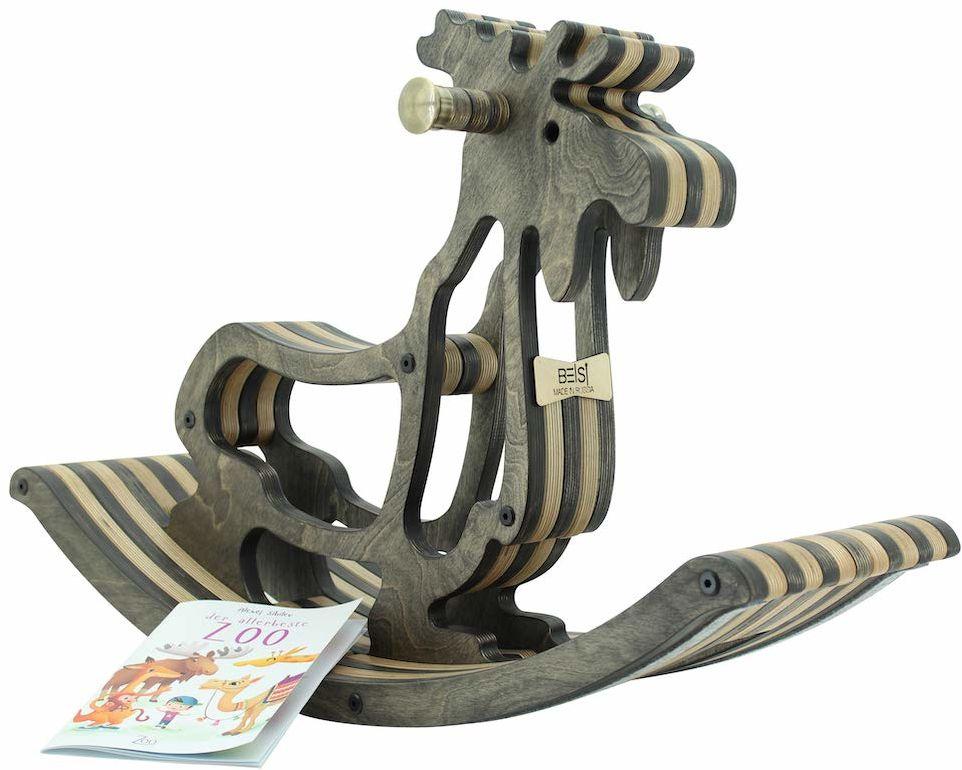 Sweety Toys 11179 Drewniany koń na biegunach łoś Elmond ciemnobrązowy - wysokiej jakości designerski koń na biegunach