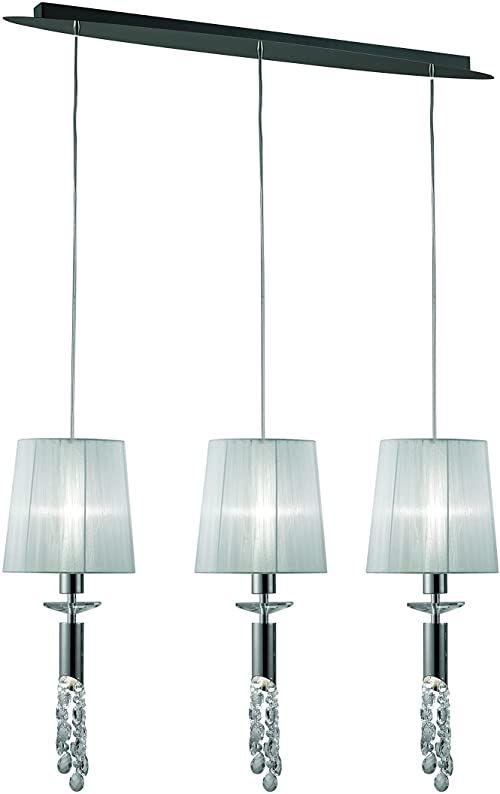Mantra Iluminación. Model Tiffany lampa wisząca, liniowa, z metalu i szkła, kolor chromu, regulacja wysokości