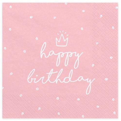 Serwetki w kropki Happy Birthday różowe 33cm 20 sztuk SP33-15-081J