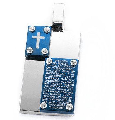 Zawieszka Krzyż z Modlitwą ze Stali Szlachetnej