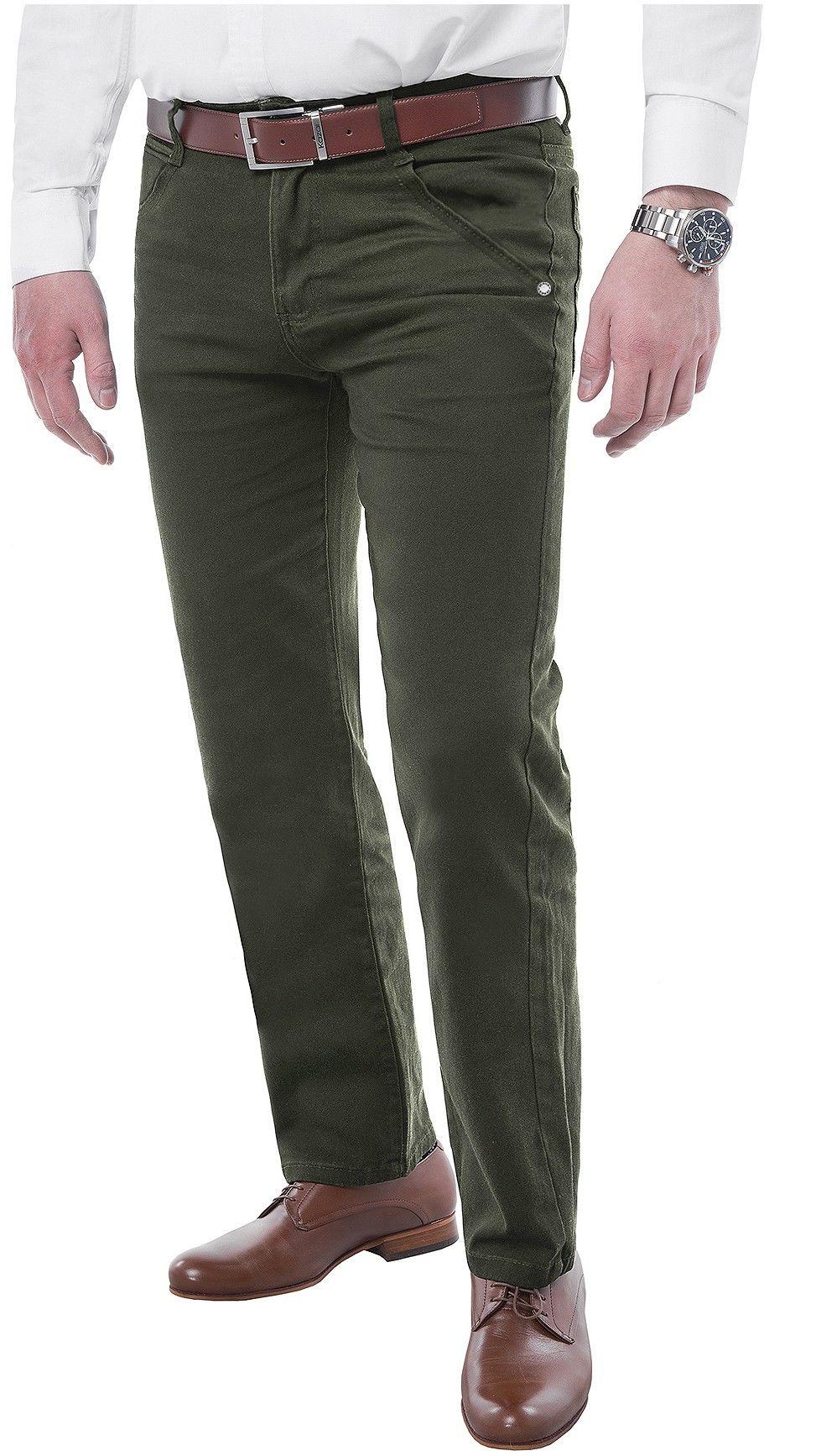 Spodnie męskie chinosy - 8630 - khaki