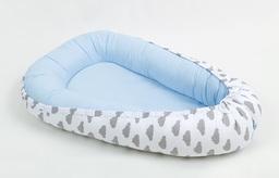 MAMO-TATO Kokon otulacz niemowlęcy DUŻY Chmurki szare na bieli / błękit