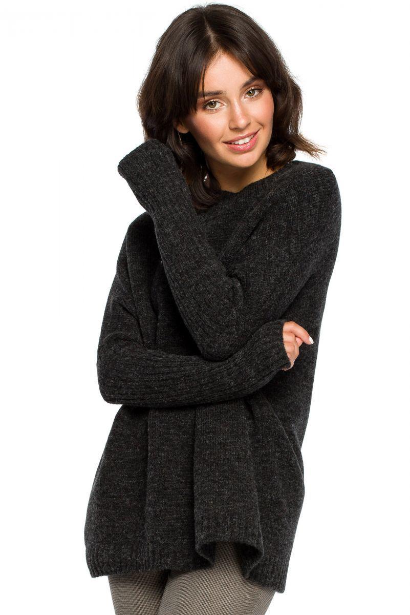 BK009 Sweter zakładany przez głowę - antracyt