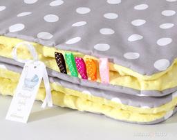 MAMO-TATO Zabawka Pościel minky dla lalek Grochy szare / żółty