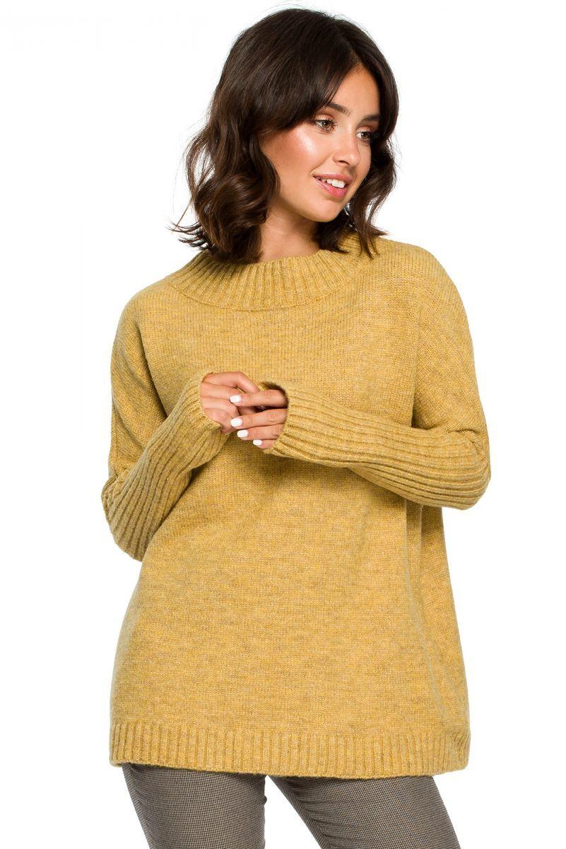 BK009 Sweter zakładany przez głowę - musztardowy