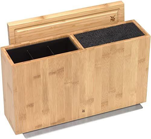 WMF Blok 3 w 1, blok na noże, bez wyposażenia, na 3  4 noże, uchwyt na przybory kuchenne, pudełko na narzędzia, deska do krojenia, drewno, bambus, wkładka ze szczotką z tworzywa sztucznego