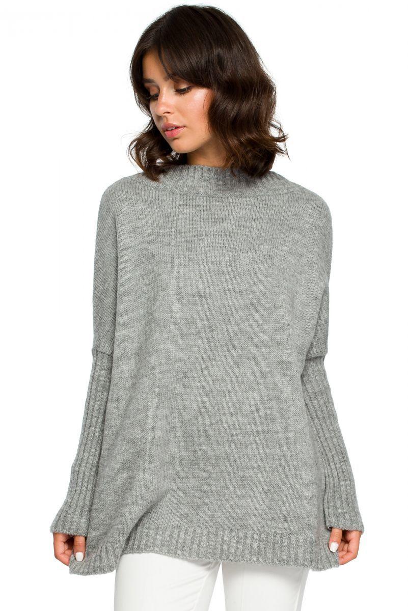 BK009 Sweter zakładany przez głowę - szary