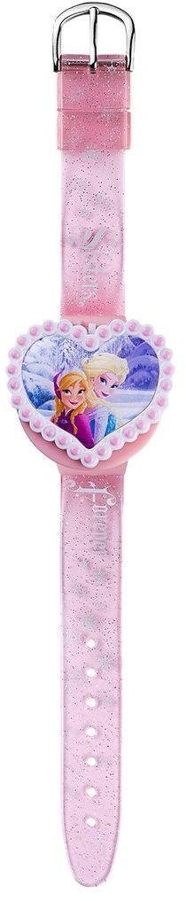Joy Toy 755557 Disney Frozen zegar LCD z 2 wymiennymi pokrowcami w kształcie serca w opakowaniu blister