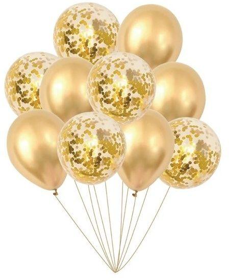 Zestaw balonów złotych 30cm 10 sztuk 400146