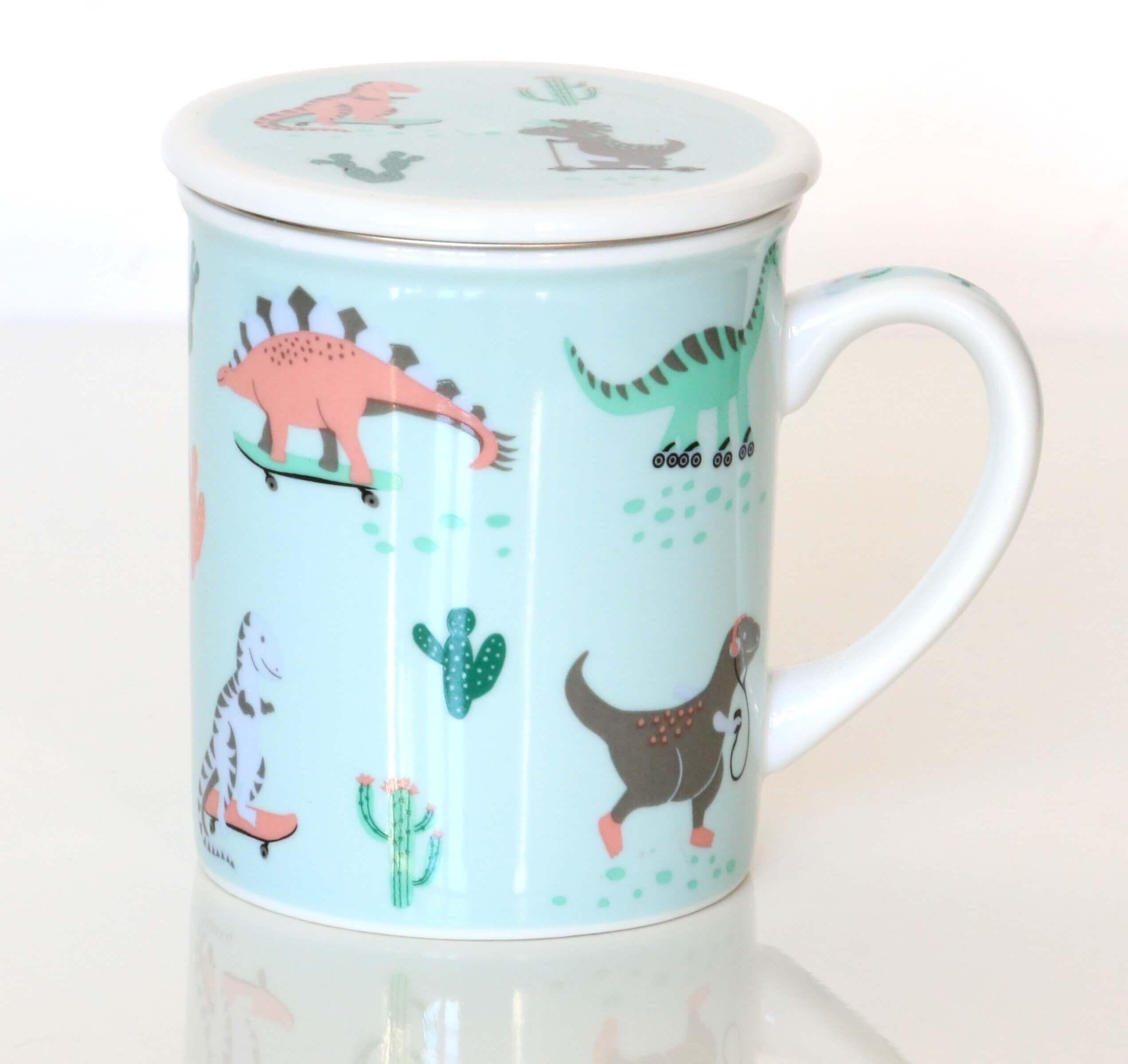 Kubek DINOZAURY z zaparzaczem i pokrywką  uroczy gadżet zestaw do parzenia herbaty prezent podarunek dla dzieci i wnuków