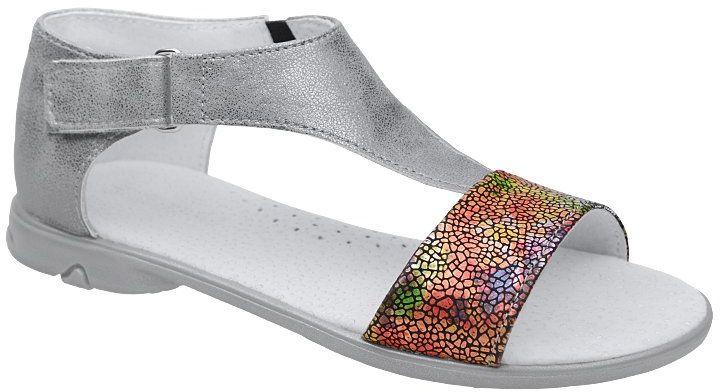 Sandałki dla dziewczynki KORNECKI 4750 Grafitowe Srebrne Multikolor - Grafitowy Srebrny Multikolor