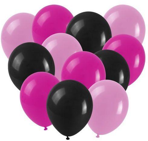 Zestaw balonów na Urodziny Wieczór Panieński czarno różowe 12 sztuk K3240