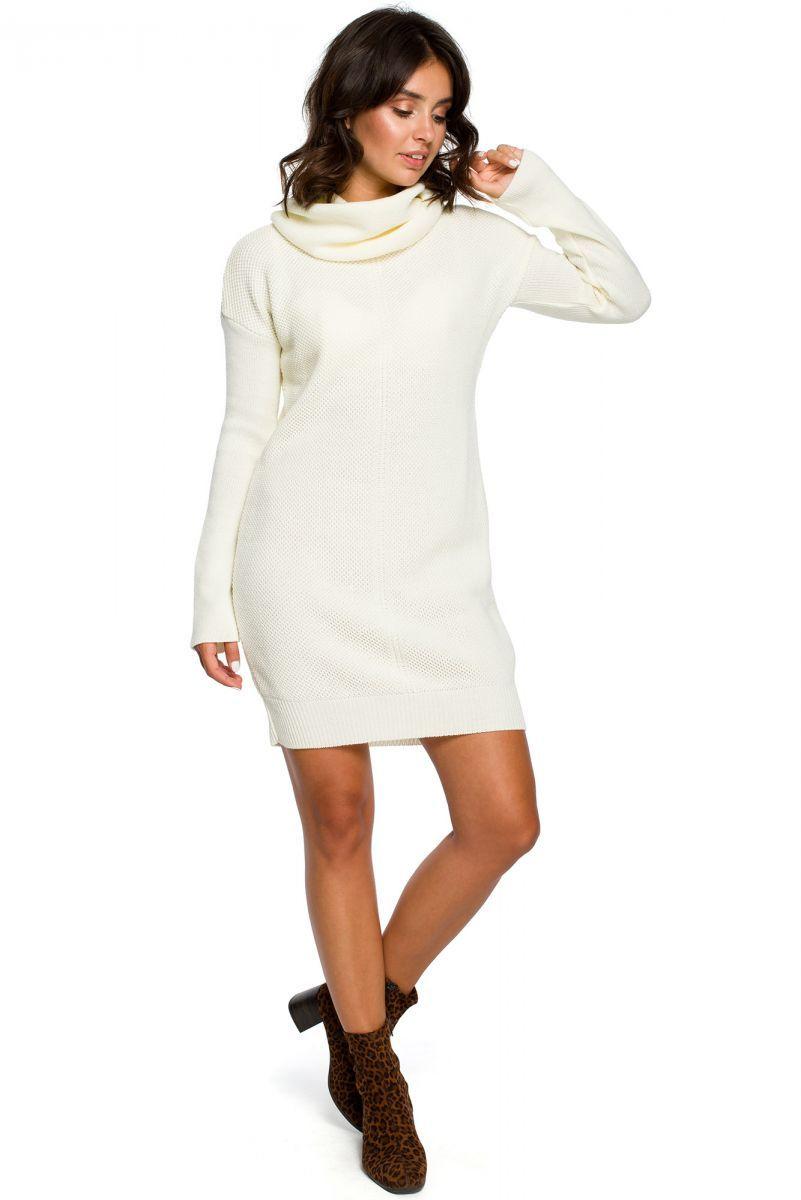 BK010 Swetrowa mini sukienka z golfem - ecru