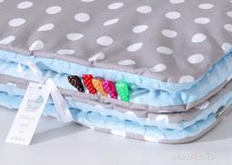 MAMO-TATO Zabawka Pościel minky dla lalek Grochy szare / błękit