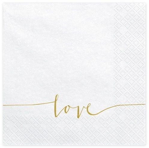 Białe serwetki ze złotym napisem love 33cm 20 sztuk SP33-22