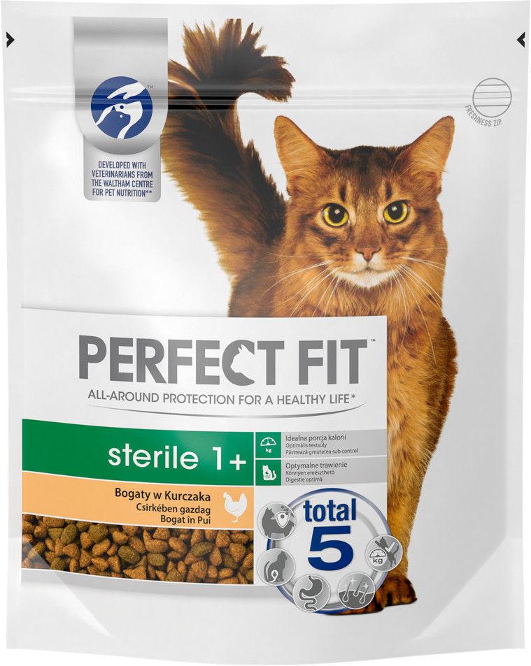 PERFECT FIT (Sterile 1+) 3 x 750g Bogaty w Kurczaka - sucha karma dla kotów po sterylizacji