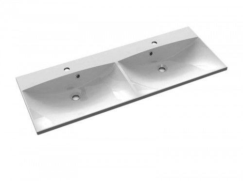 Podwójna umywalka kompozytowa 120x46cm, biała MARIA
