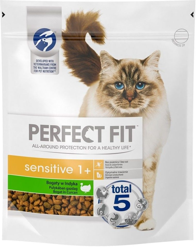 PERFECT FIT (Sensitive 1+) 3 x 750g Bogaty w indyka - sucha karma dla kotów z wrażliwym układem trawiennym