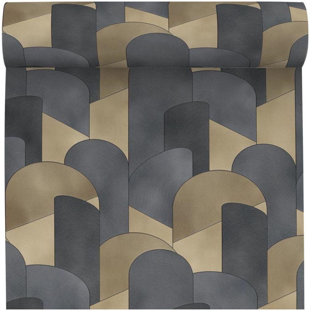 Tapeta Formes czarno-złota winylowa na flizelinie