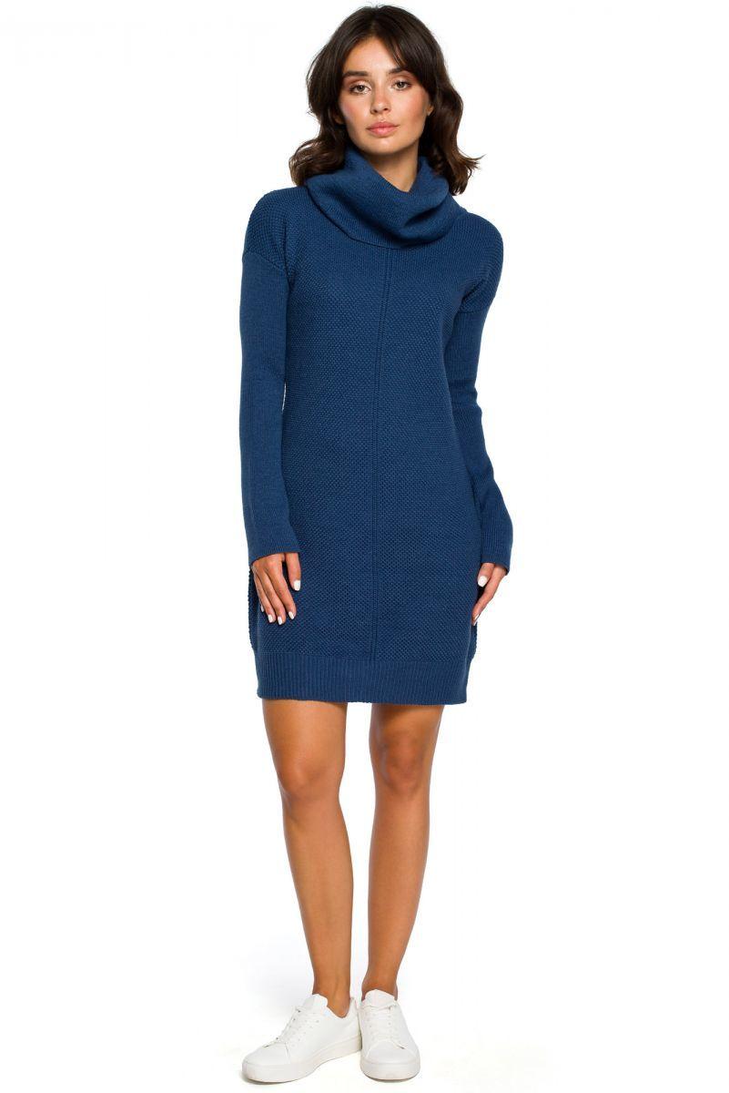 BK010 Swetrowa mini sukienka z golfem - niebieska