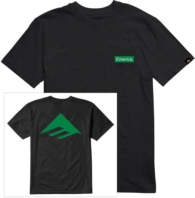t-shirt męski EMERICA PURE TRIANGLE POCKET TEE Black
