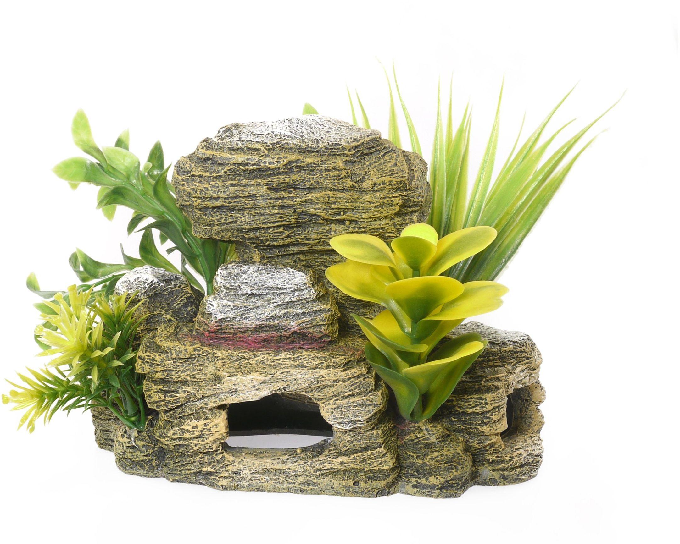 Palisander skalista jaskinia z roślinami akwarium / ozdoba do akwarium