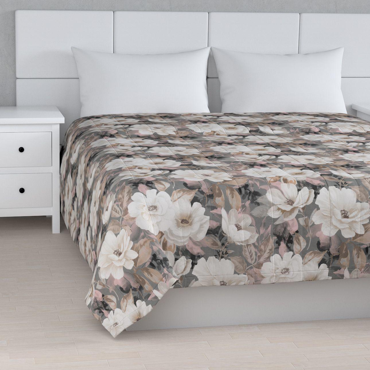 Narzuta pikowana w pasy, kremowe i różowe kwiaty na szarym tle , szer.260  dł.210 cm, Gardenia