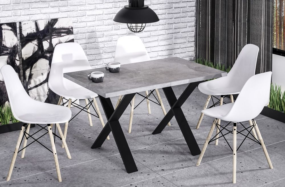 Stół X 130(170)x80 beton rozkładany w stylu industrialnym  KUP TERAZ - OTRZYMAJ RABAT