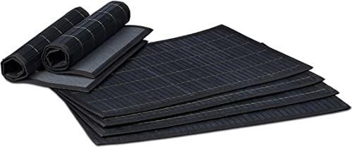 Relaxdays Zestaw 6 podkładek stołowych, zestaw 6 antypoślizgowych, nadających się do mycia bambusowych mat na stół 30 x 45 cm, czarny, 30 x 45 x 0,3 cm